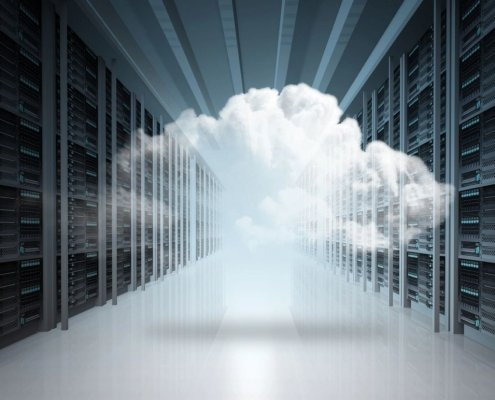 This picture shows a cloud in a server room