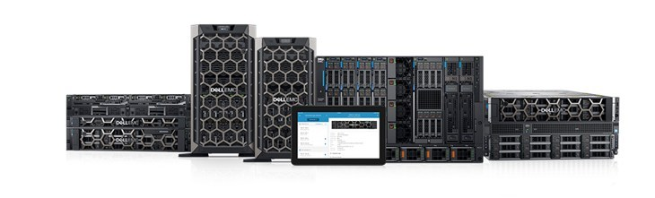 This picture shows several Dell PowerEdge servers