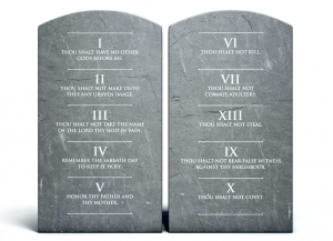 This is a picture of two stone tablets with the ten commandments carved into it