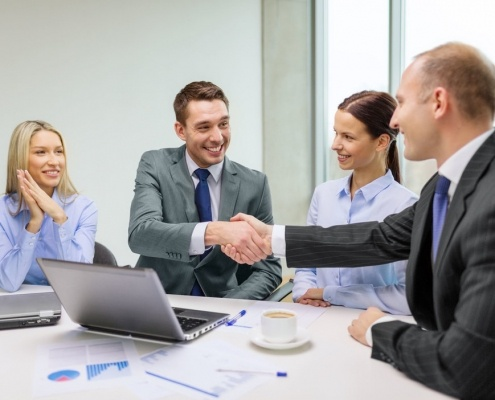 Picture of friendly meeting with handshake