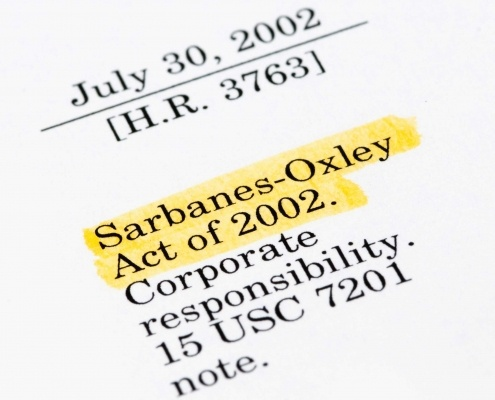 This is a picture of the corner of a sheet of paper with sarbanes-oxley-act typed on it