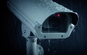 This is a picture of a security camera in the rain