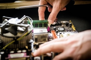 This is a picture of computer being repaired